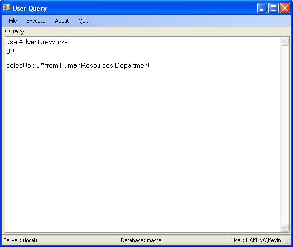 User Query application main window