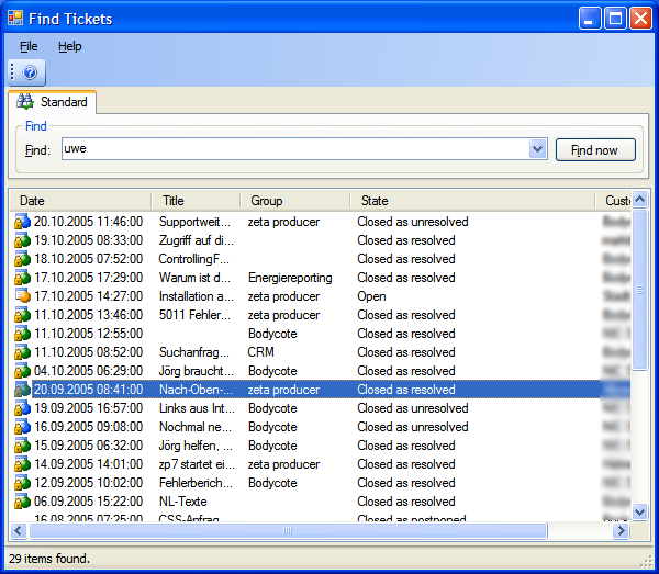 Search dialog for tickets