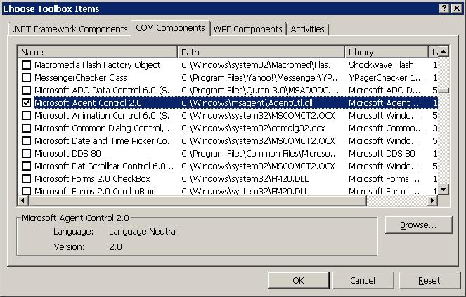 Figure 3 - Adding Microsoft Agent Control into Toolbox