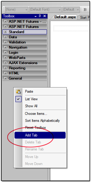 Add new tab in VS.NET Toolbox