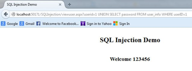 view user page query string affected to sql injection