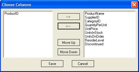 Field chooser dialog