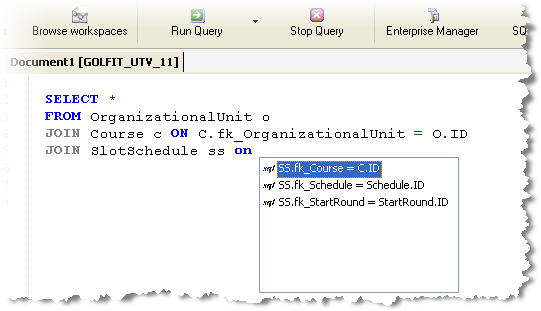 Sample Column IntelliSense