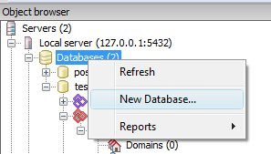 How to create new database in PgAdmin III