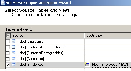 First import wizard form - source and new destination