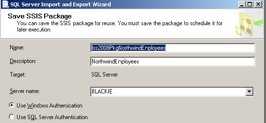 Final import wizard form - saved package name