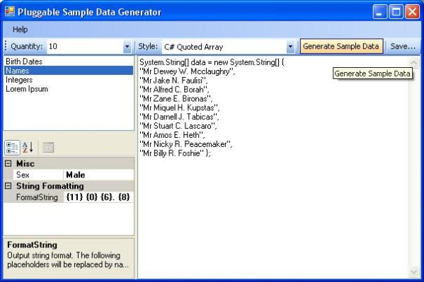Pluggable Sample Data Generator GUI