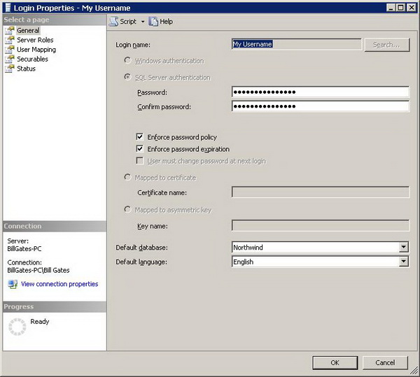 Figure 4 - Login Properties dialog