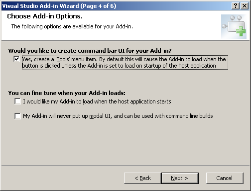 Create Addin step 4