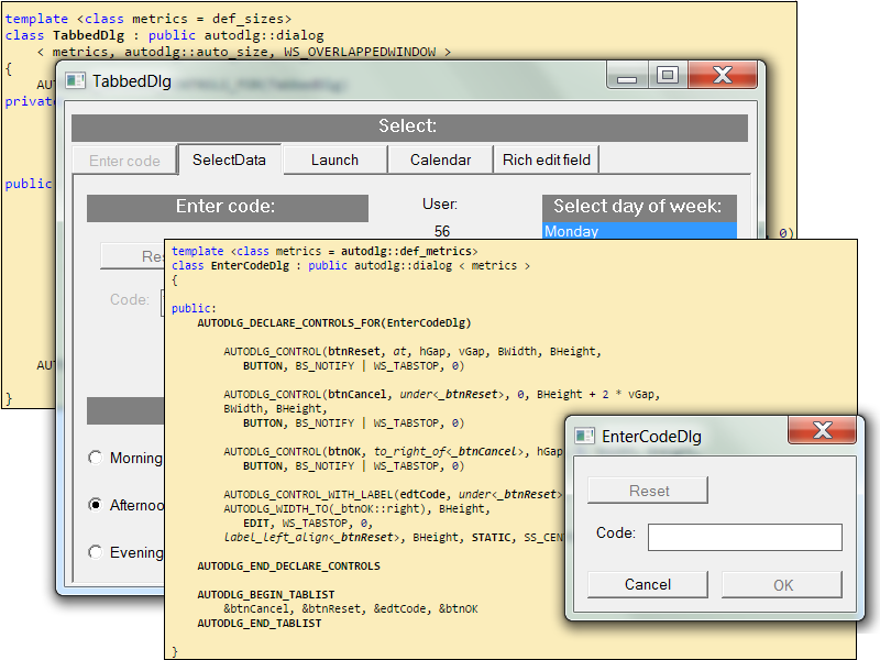 Windows dialog design in C++ without dialog templates.