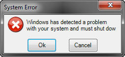 The fake system warning dialog