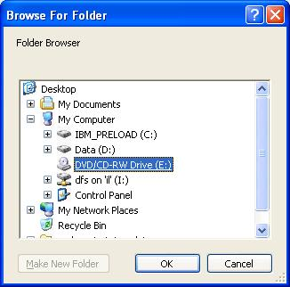 Folder Browser with disabled 'Make New Folder' button
