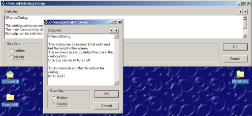 A desktop snapshot with the dialog maximized and normal size overimpressed