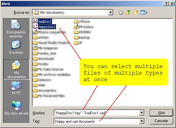 Open dialog showing multiple files types and two selected files