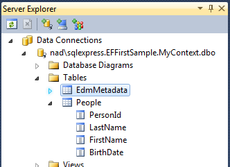 Screen capture of server explorer showing a table People