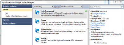 How to install Entity Framework to a project