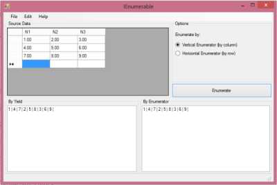 Screenshot showing an enumerated DataGridView