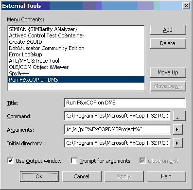Fxcop command line options