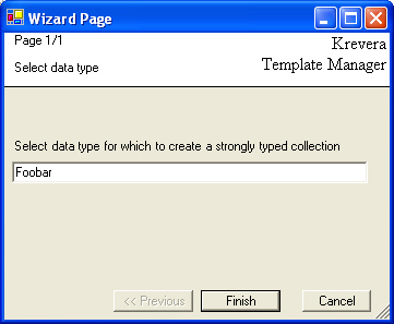 Krevera Template manager Wizard example