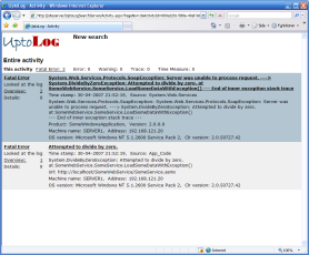 UptoLog screen shot, showing application failure