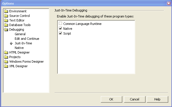 VS 2003 Options Dialog