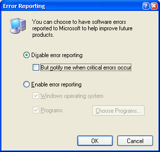 Disable Error reporting