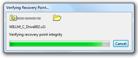 recovery point check dialog
