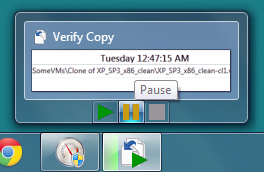 Verify Copy from the Task Bar