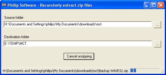Massive unzip application image