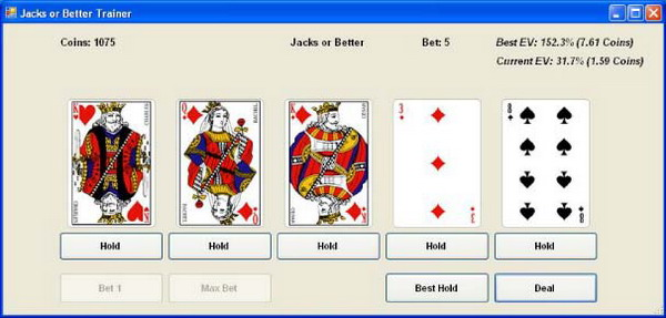 Video Poker Trainer Application Image