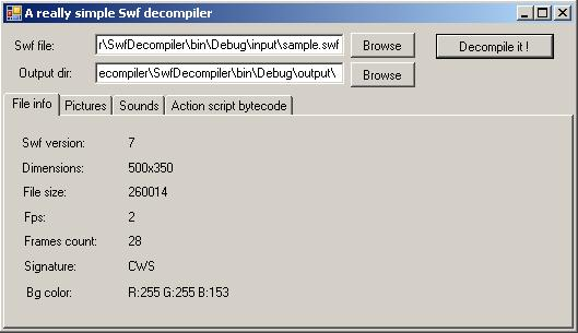 Swf Decompiler sample with C#