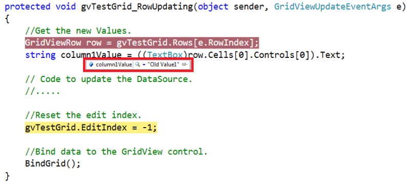Debugger Inside GridView RowUpdating Event