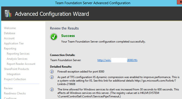 Team Foundation Server 2012 Advanced Configuration - Success