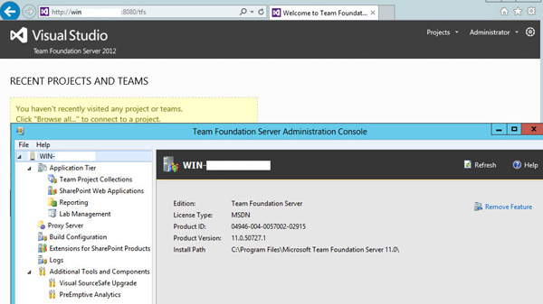 Team Foundation Server 2012 Administration Console