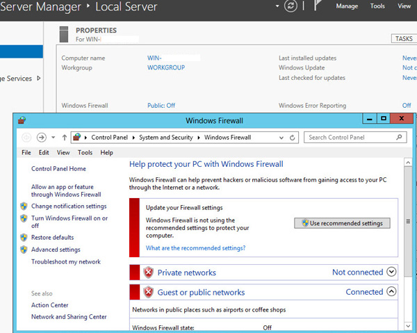 Windows Server 2012 Firewall