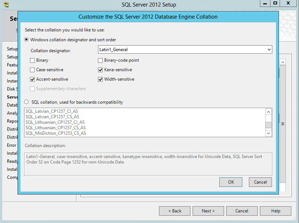 SQL Server 2012 Database Engine Collation