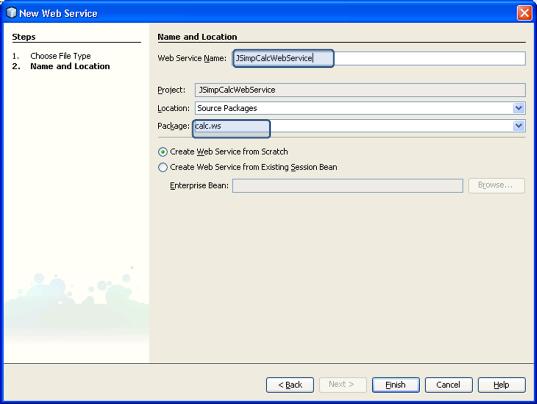 Create Web Service Netbeans Web Serice Name