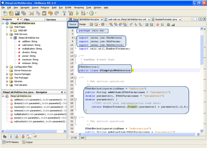Create Web Service Netbeans WS Source Mode