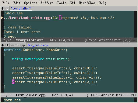 screen shot of unit-- with emacs