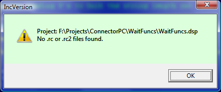 VC6 - no resource files found warning message
