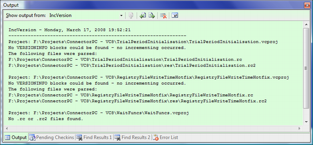 VC8 - no VERSIONINFO block found warnings and no resource files found warning in the IncVersion pane of the Output window