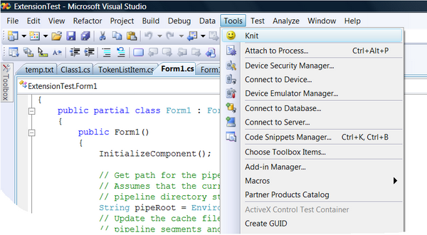Visual Studio Tool Menu