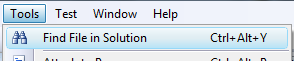 Find File in Solution menu