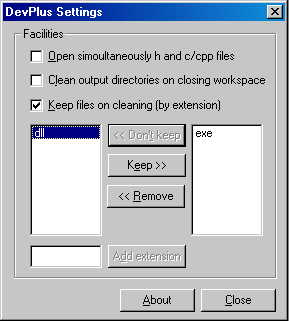 DevPlus Settings Dialog