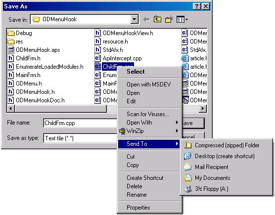 The context menu shown when right clicking a file in the Save-As dialog box