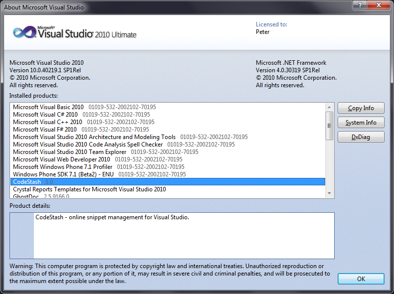 CodeStash in the About Visual Studio dialog.
