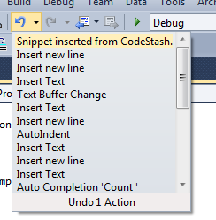 The UndoContext in action, displaying CodeStash context information at the top of the undo stack.