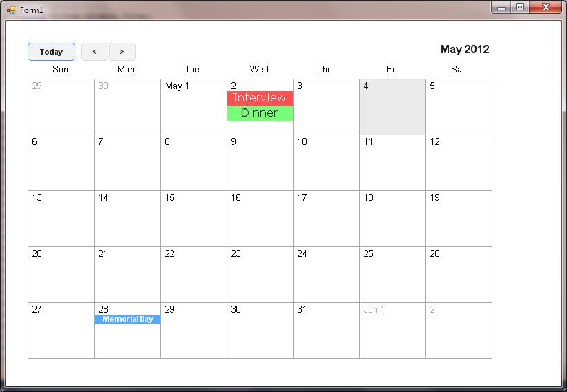 Monthly Calendar Visual Basic : Calendar codeproject