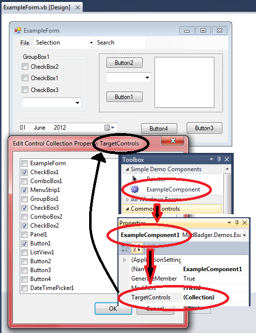 The Control Collection Property Editor showing a CheckedListBox with all the Controls on a Form in the Design window