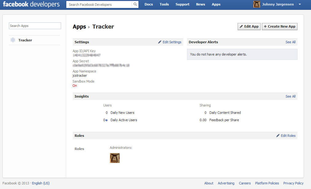 create facebook application and get app id